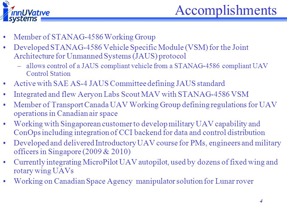 Accomplishments Member of STANAG-4586 Working Group