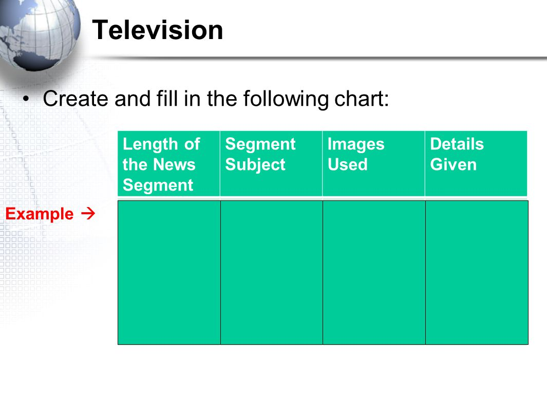 Television Create and fill in the following chart: