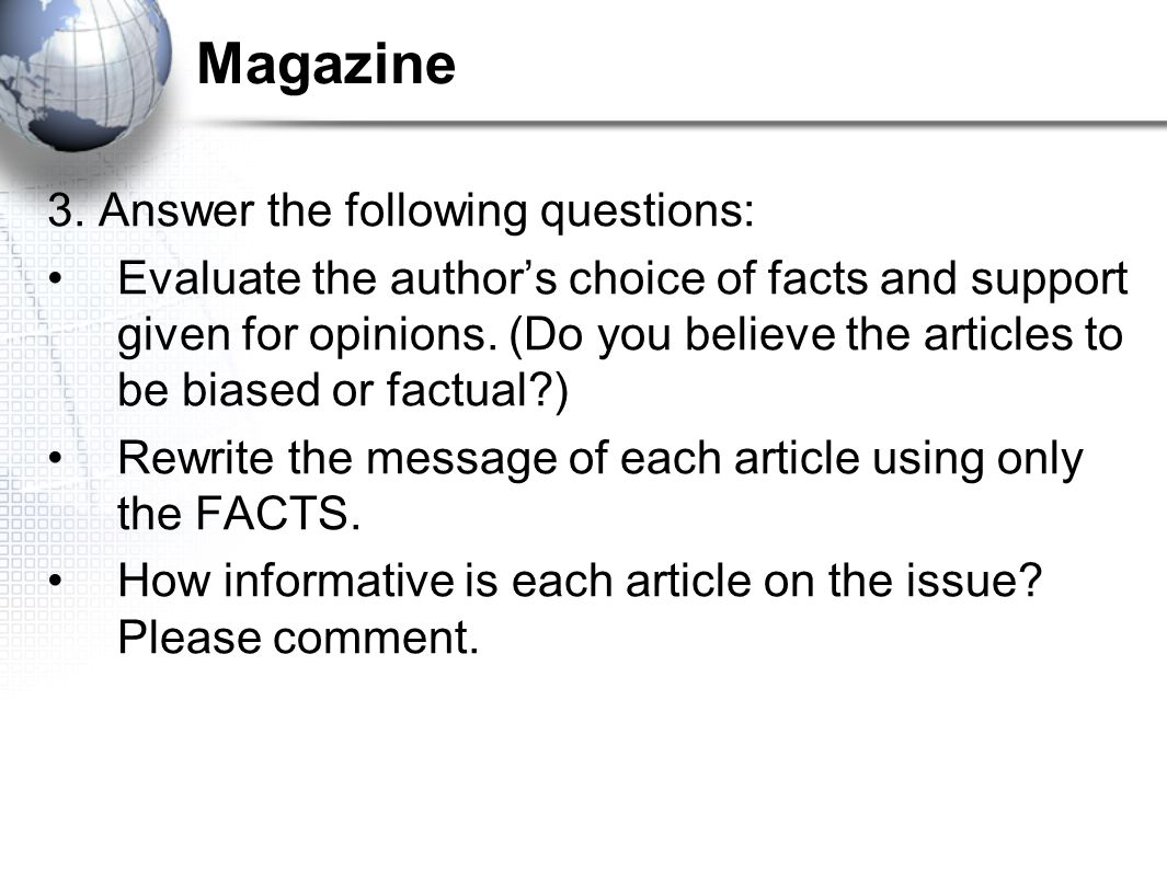 Magazine 3. Answer the following questions: