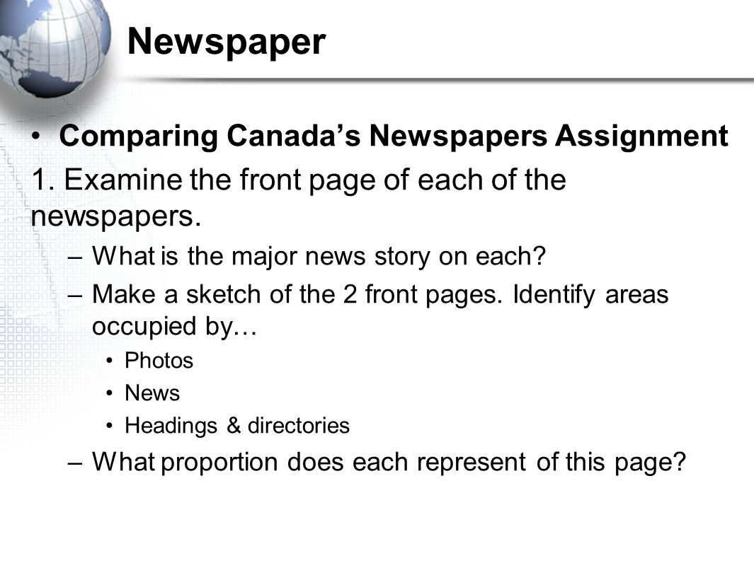 Newspaper Comparing Canada's Newspapers Assignment