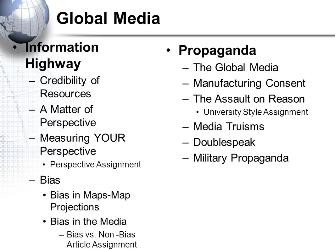 Global Media Information Highway Propaganda The Global Media