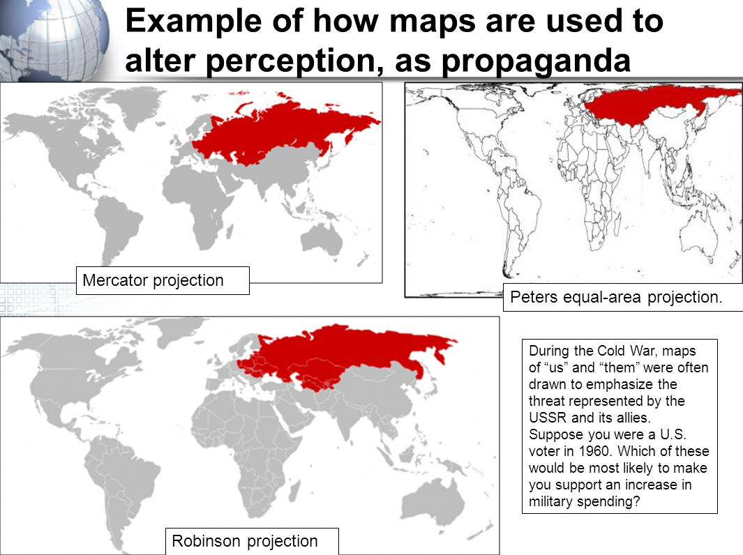 Example of how maps are used to alter perception, as propaganda
