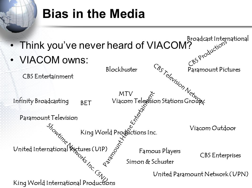 Bias in the Media Think you've never heard of VIACOM VIACOM owns:
