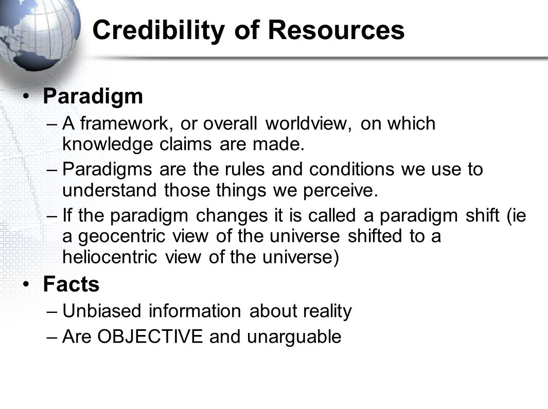 Credibility of Resources