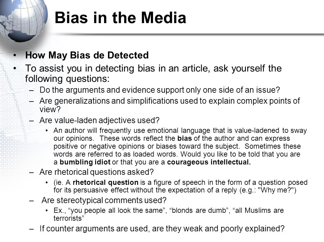 Bias in the Media How May Bias de Detected