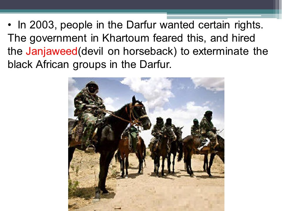 In 2003, people in the Darfur wanted certain rights