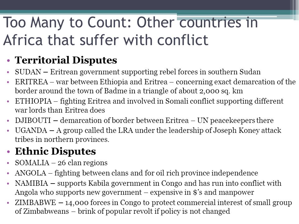 Too Many to Count: Other countries in Africa that suffer with conflict