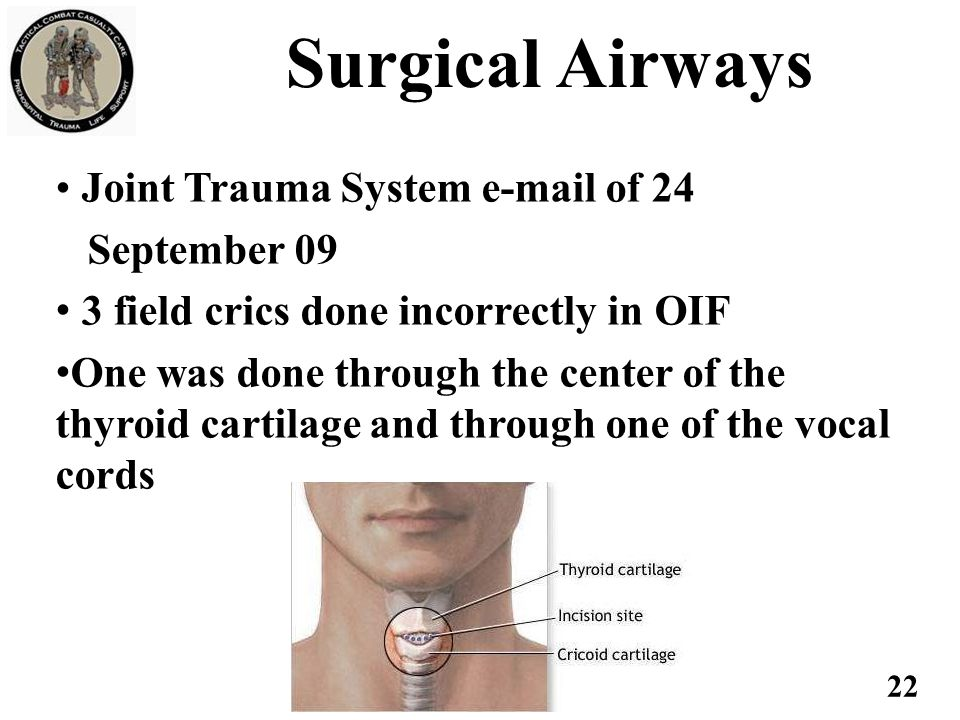 Surgical Airways Joint Trauma System e-mail of 24 September 09