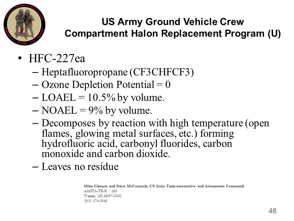 US Army Ground Vehicle Crew Compartment Halon Replacement Program (U)
