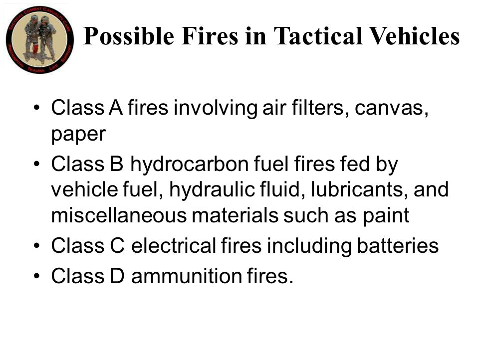 Possible Fires in Tactical Vehicles