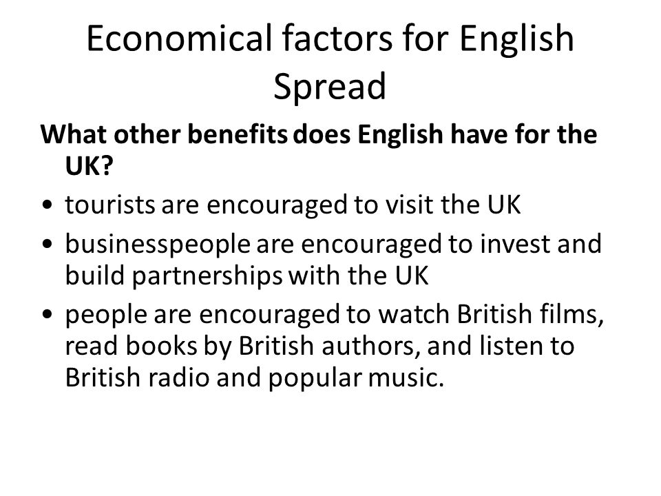 Economical factors for English Spread