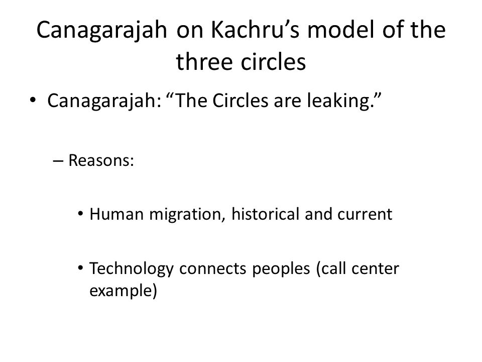 Canagarajah on Kachru's model of the three circles