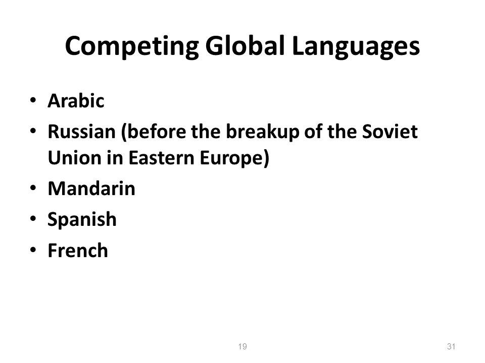 Competing Global Languages