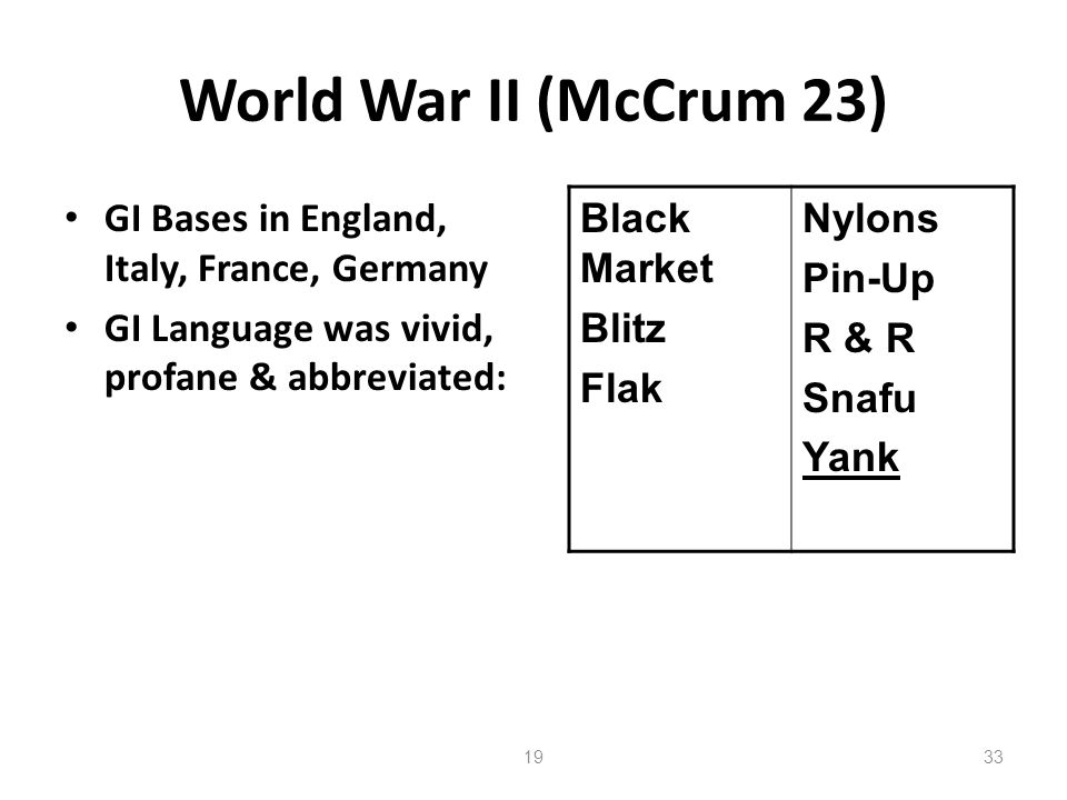 World War II (McCrum 23) GI Bases in England, Italy, France, Germany