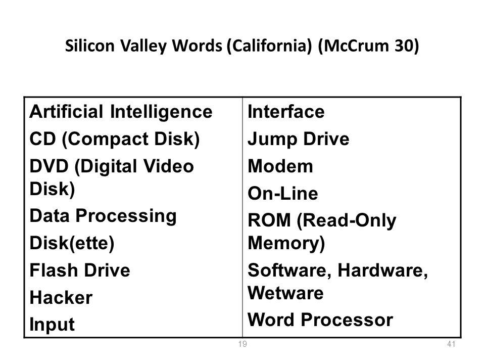 Silicon Valley Words (California) (McCrum 30)