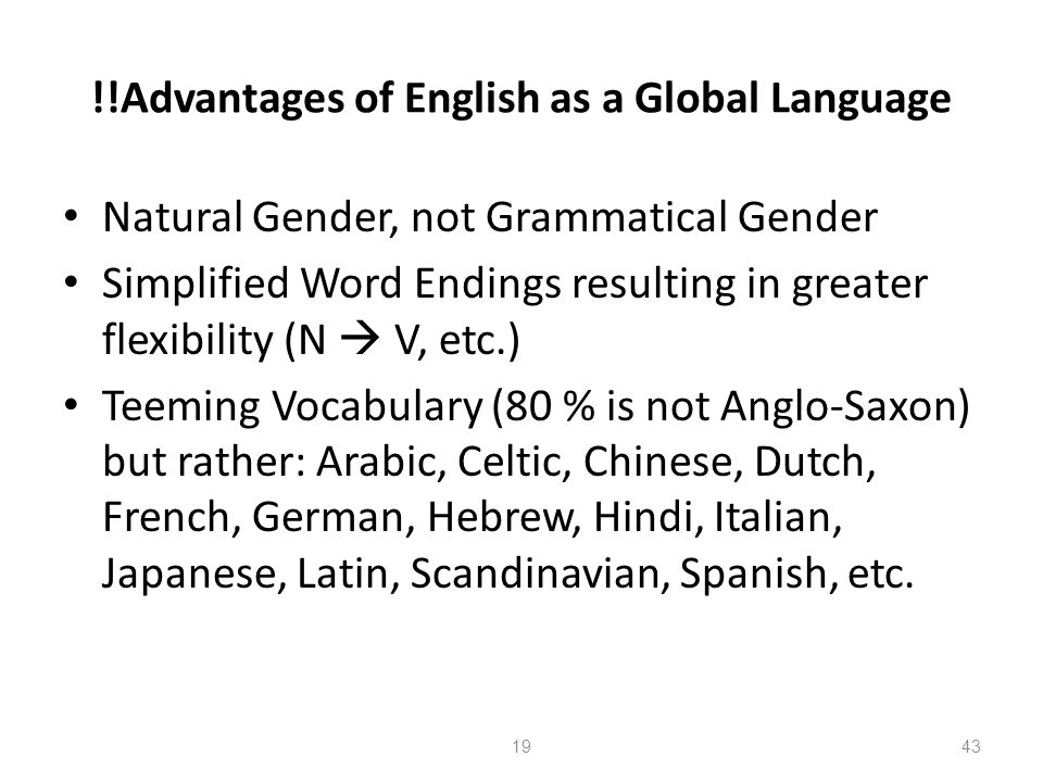 !!Advantages of English as a Global Language
