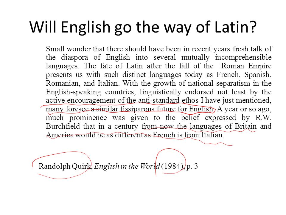 Will English go the way of Latin
