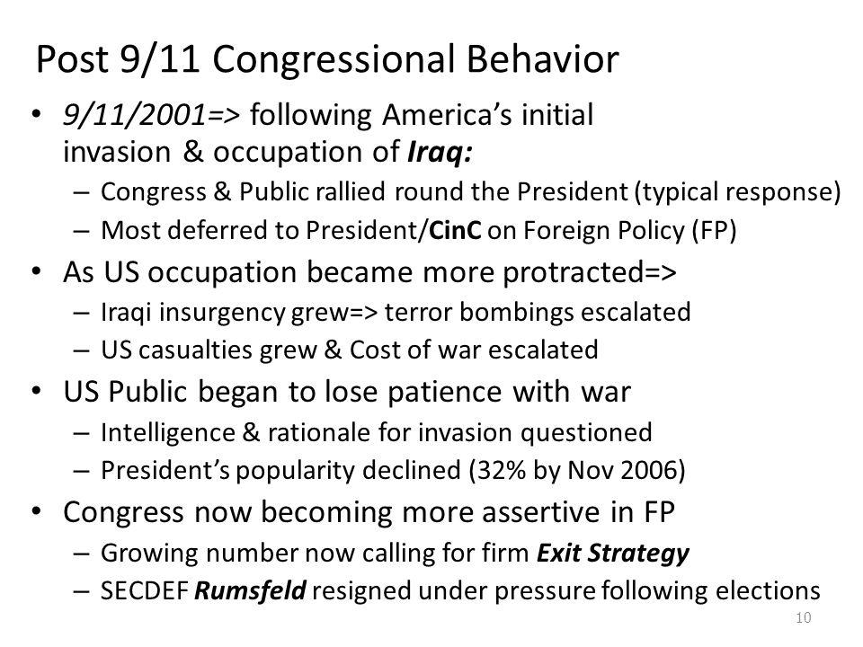 Post 9/11 Congressional Behavior