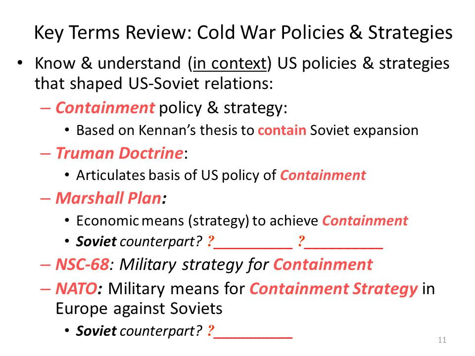 Key Terms Review: Cold War Policies & Strategies