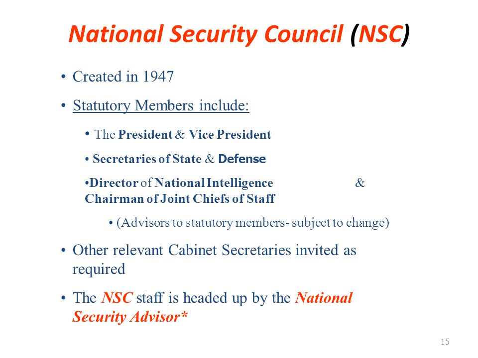National Security Council (NSC)