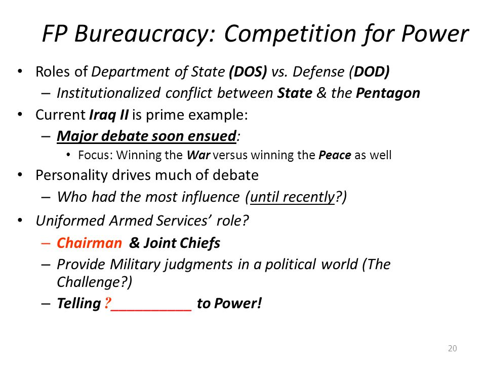 FP Bureaucracy: Competition for Power