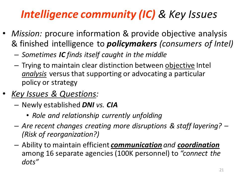 Intelligence community (IC) & Key Issues