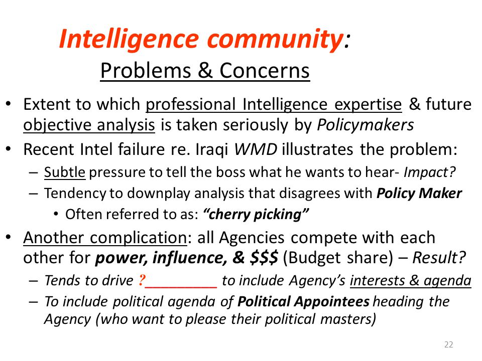 Intelligence community: Problems & Concerns