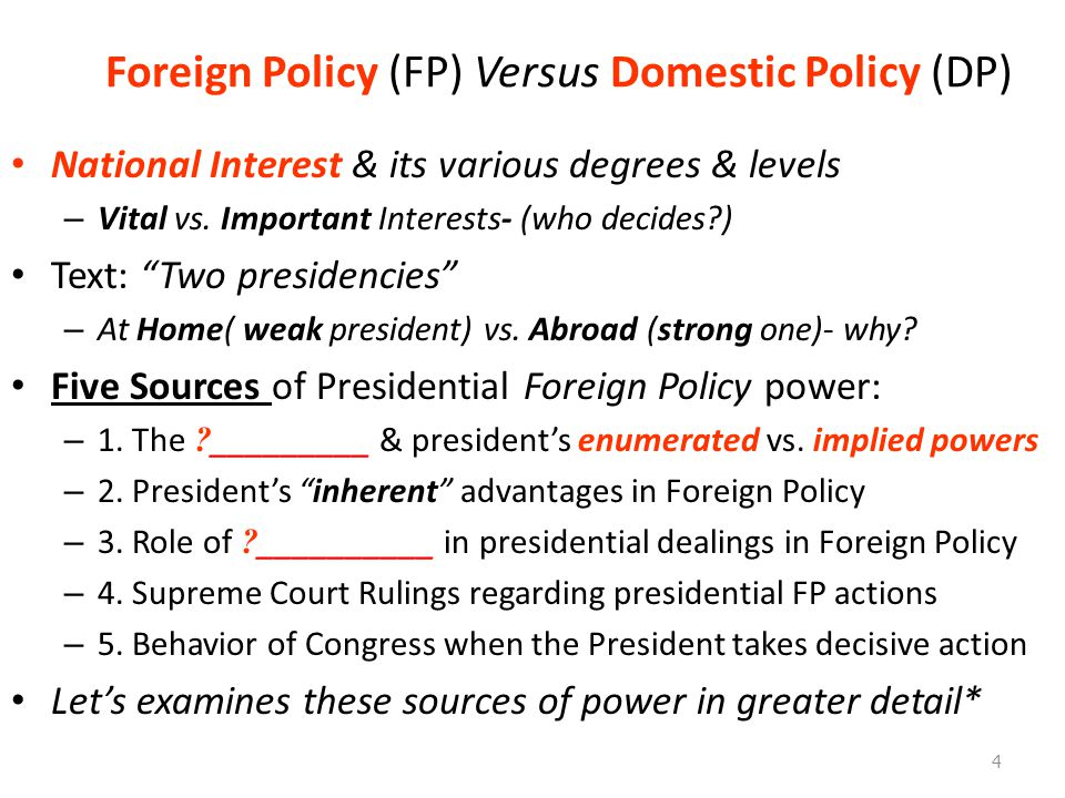 Foreign Policy (FP) Versus Domestic Policy (DP)