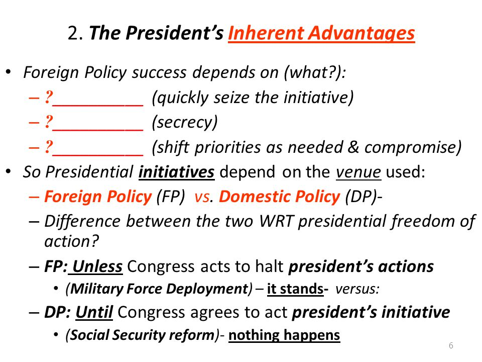 2. The President's Inherent Advantages