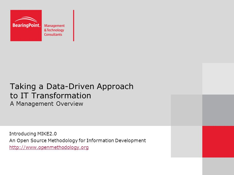 Taking a Data-Driven Approach to IT Transformation A Management Overview