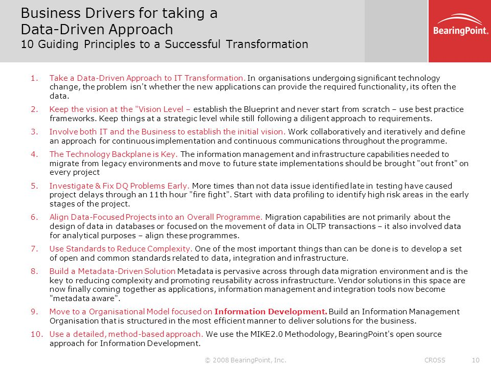 Business Drivers for taking a Data-Driven Approach 10 Guiding Principles to a Successful Transformation