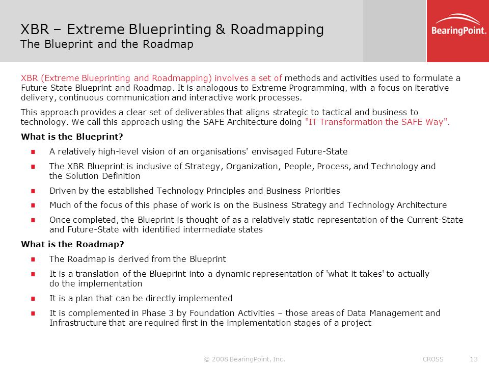 XBR – Extreme Blueprinting & Roadmapping The Blueprint and the Roadmap