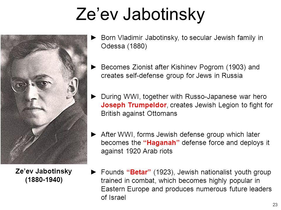 Ze'ev Jabotinsky Born Vladimir Jabotinsky, to secular Jewish family in Odessa (1880)