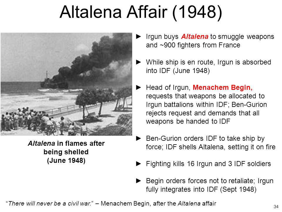 Altalena in flames after being shelled