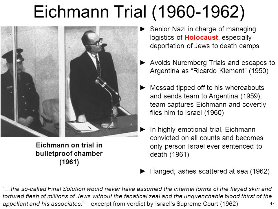 Eichmann on trial in bulletproof chamber