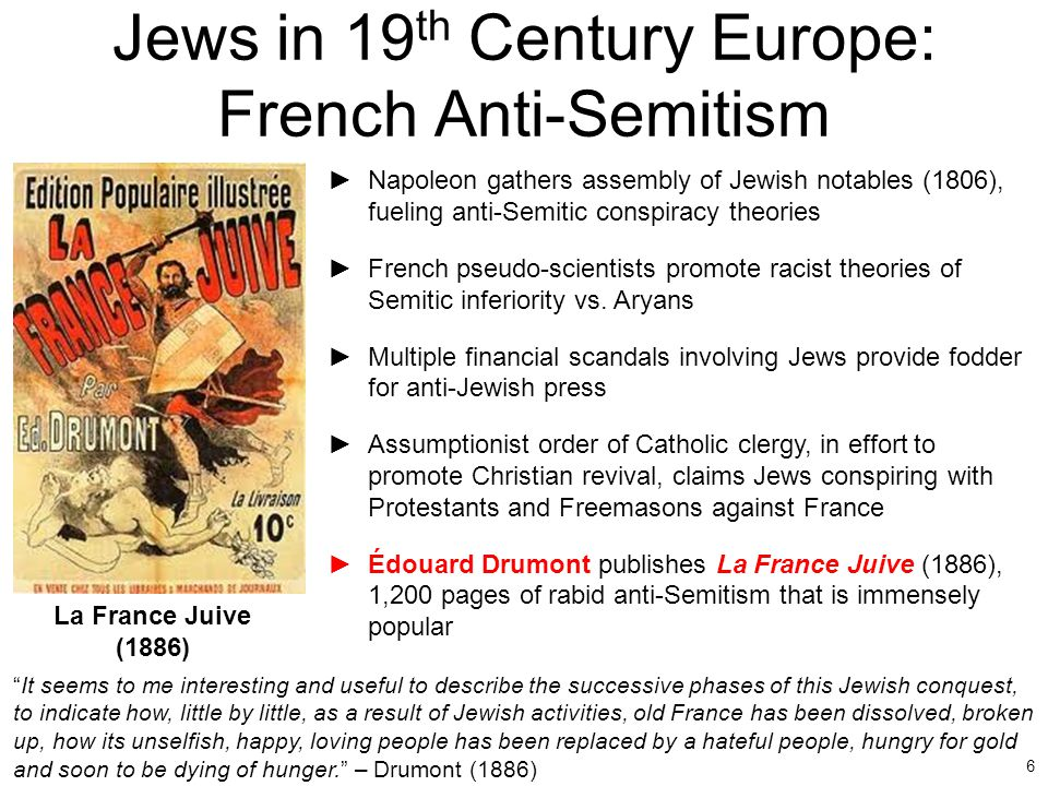 Jews in 19th Century Europe: French Anti-Semitism