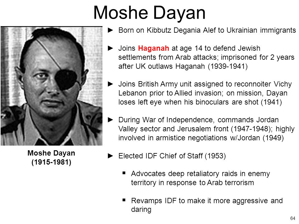 Moshe Dayan Born on Kibbutz Degania Alef to Ukrainian immigrants