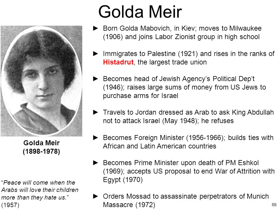 Golda Meir Born Golda Mabovich, in Kiev; moves to Milwaukee (1906) and joins Labor Zionist group in high school.