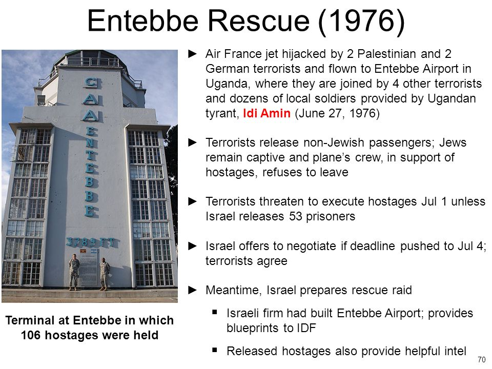Terminal at Entebbe in which 106 hostages were held