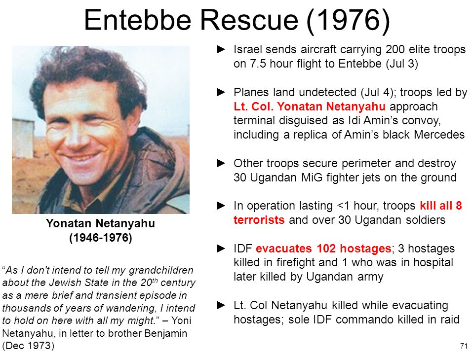 Entebbe Rescue (1976) Israel sends aircraft carrying 200 elite troops on 7.5 hour flight to Entebbe (Jul 3)