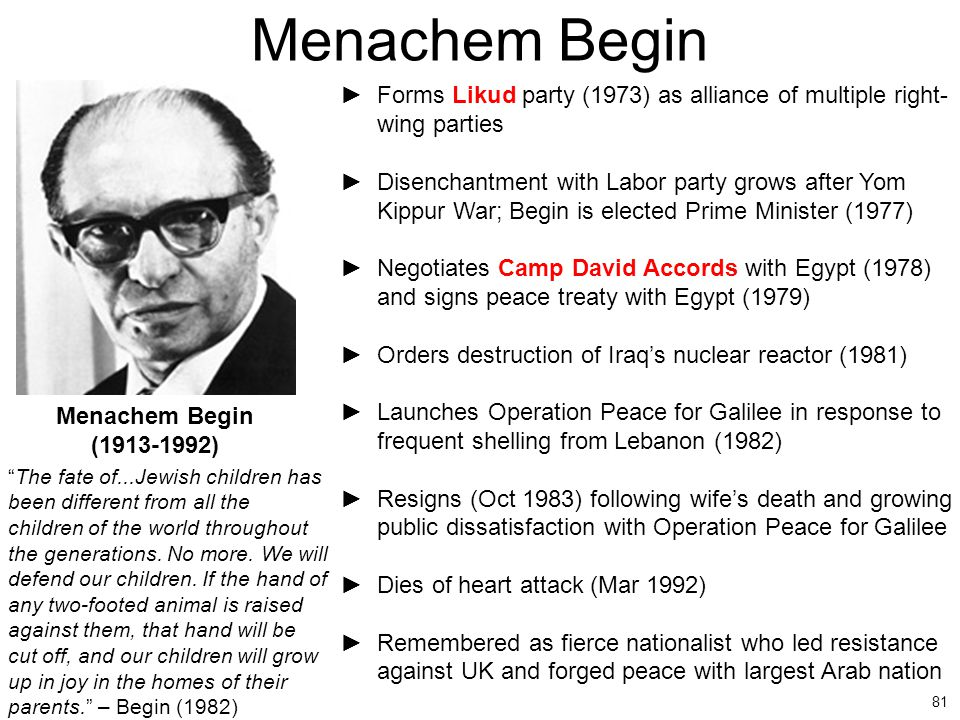 Menachem Begin Forms Likud party (1973) as alliance of multiple right- wing parties.