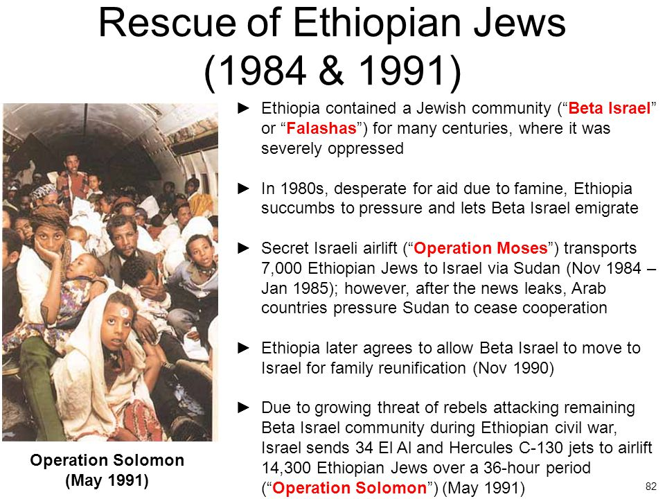 Rescue of Ethiopian Jews (1984 & 1991)