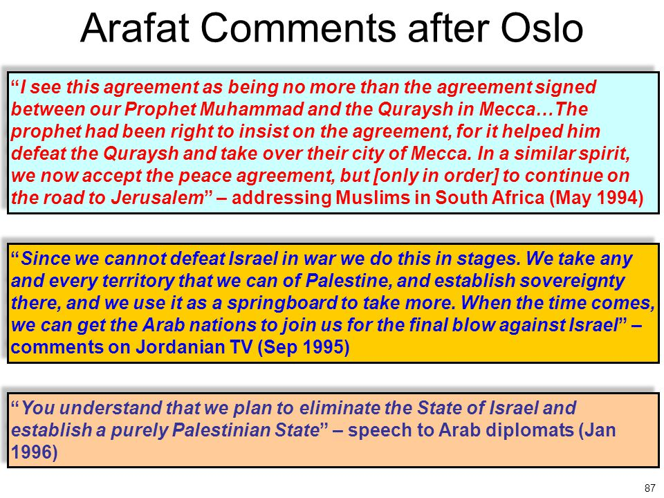 Arafat Comments after Oslo