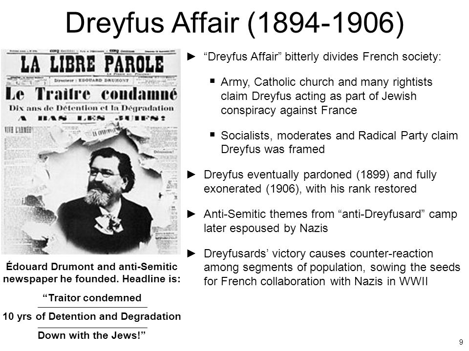 Dreyfus Affair (1894-1906) Dreyfus Affair bitterly divides French society: