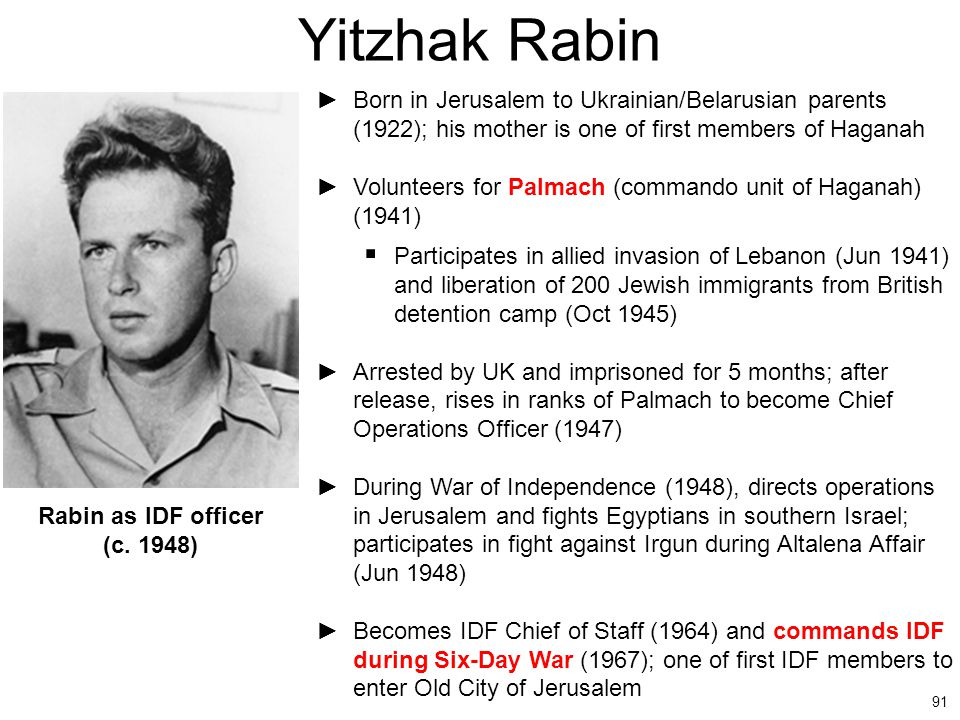 Yitzhak Rabin Born in Jerusalem to Ukrainian/Belarusian parents (1922); his mother is one of first members of Haganah.