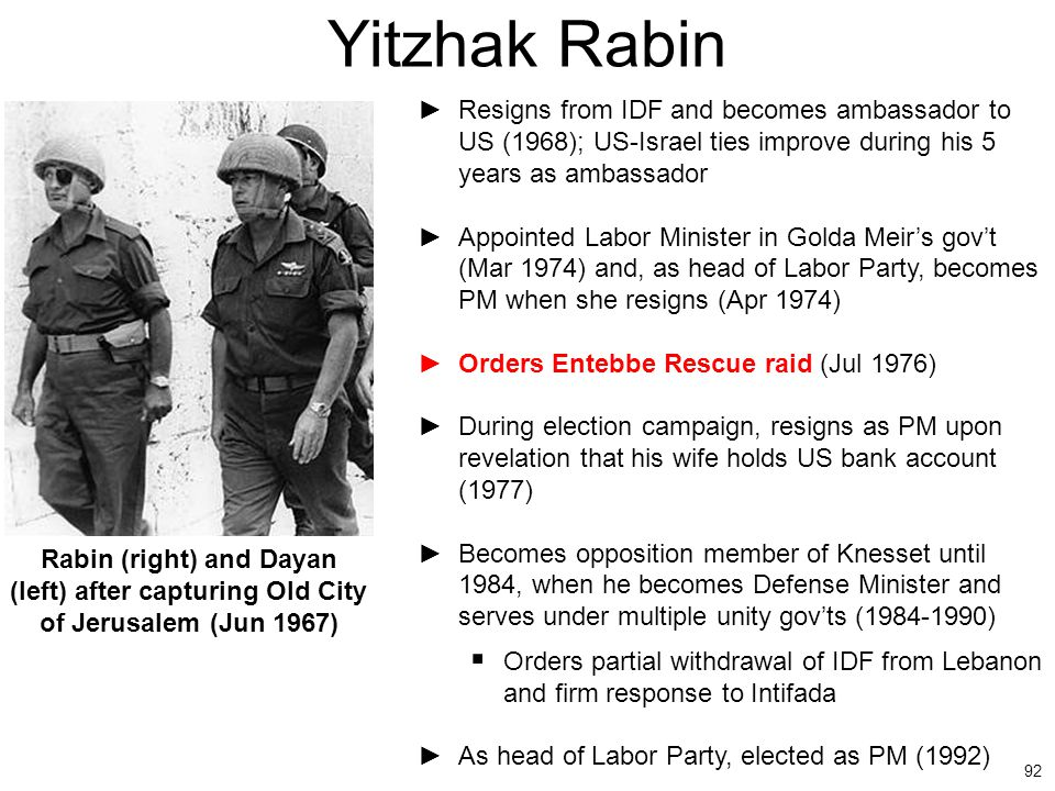 Yitzhak Rabin Resigns from IDF and becomes ambassador to US (1968); US-Israel ties improve during his 5 years as ambassador.