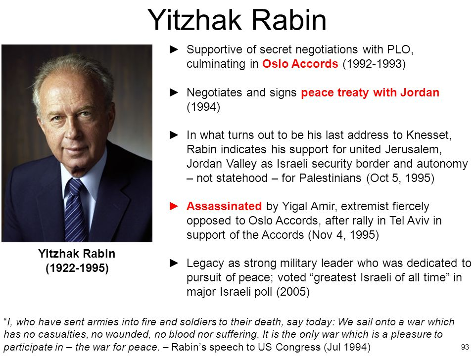 Yitzhak Rabin Supportive of secret negotiations with PLO, culminating in Oslo Accords (1992-1993)
