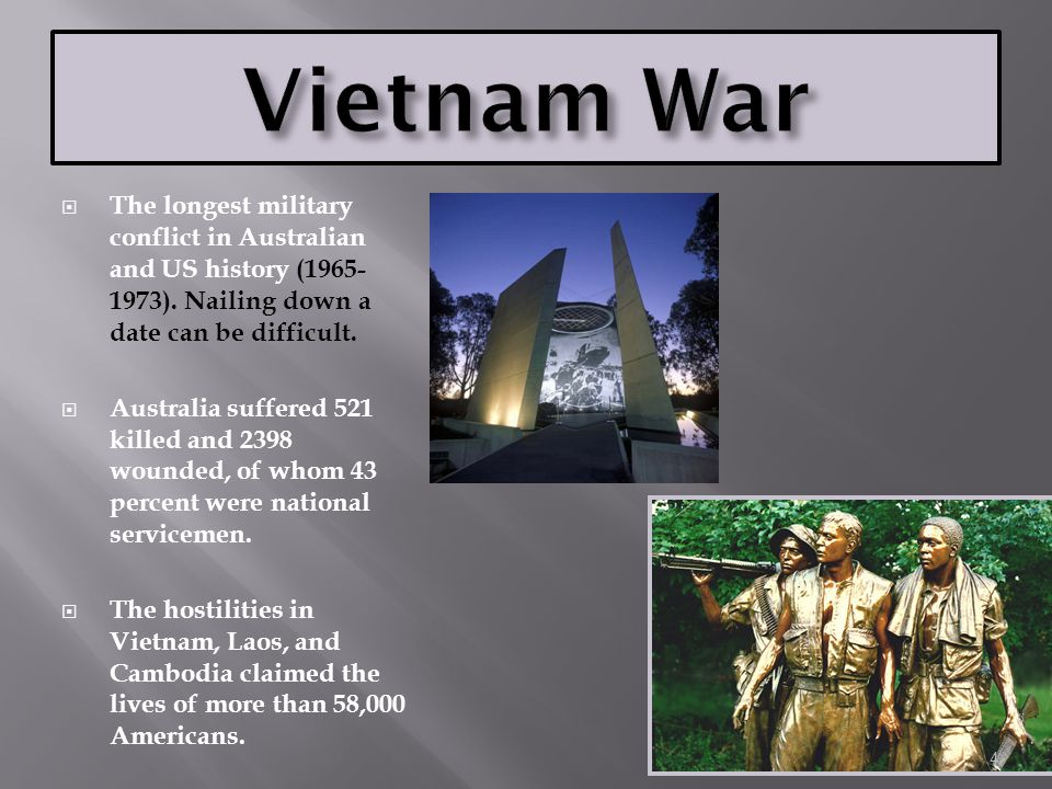 Vietnam War The longest military conflict in Australian and US history (1965-1973). Nailing down a date can be difficult.
