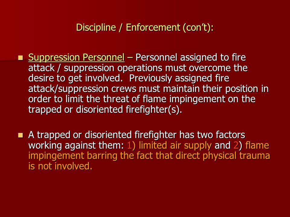Discipline / Enforcement (con't):