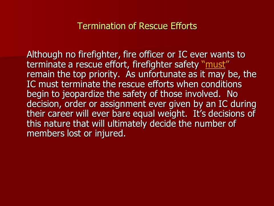 Termination of Rescue Efforts